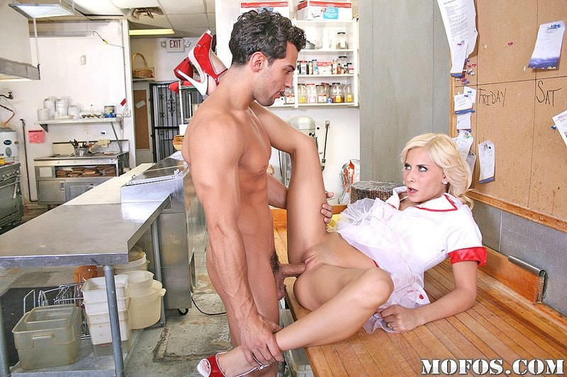 Waitress in stockings fucked hardcore in the restaurant